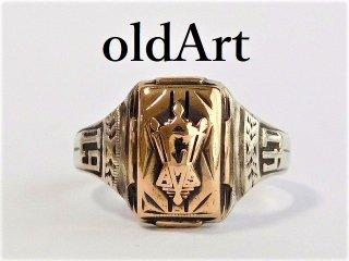 1941年代USAビンテージHJ社製シルバー製10金張りカレッジリング指輪13号【M-12087】