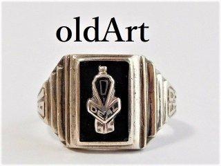 1958年代USAビンテージSTERLINGシルバー製Dカレッジリング指輪14号【M-12091】