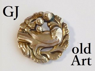 北欧 デンマーク 廃盤Georg Jensenジョージジェンセンデンマーク製鳩植物アンティークブローチ#134【M-12111】
