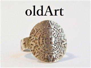 アンティークマヤ文明アステカカレンダーシルバー銀製スプーンリング指輪【M-12110】