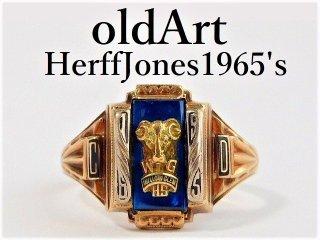 1965年代ビンテージ10金無垢ハーフジョンズHJ社製カレッジリング指輪12.5号10Kゴールド【M-12137】