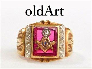 ビンテージ1940年代フリーメイソン10金無垢ルビーダイヤモンドメンズリング指輪16号10Kゴールド【M-12178】