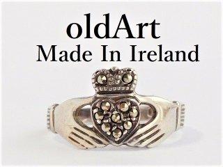 アイルランド製伝統的な指輪クラダリングヘマタイトSTERLINGシルバー製10.5号【M-12183】