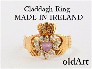 アイルランド製1990年伝統的な指輪クラダリングアメジスト9金無垢9号ホールマーク9ctゴールド刻印【M-12184】