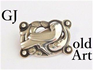 北欧デンマーク廃盤アンティークGeorgJensenジョージジェンセンハト鳩シルバー製ブローチ#111【M-12185】