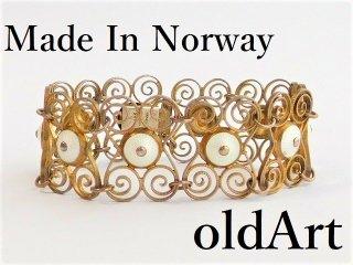 北欧アンティーク1920年代ノルウェー製Aksel Holmsen銀線細工エナメルシルバー銀製ゴールドブレスレット【M-12186】