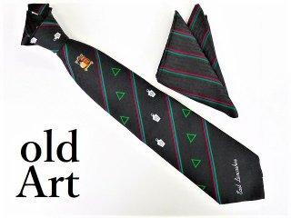 英国製イギリスフリーメイソンオフィシャル総柄刺繍ネクタイ&チーフハンカチSET新品未使用品【M-12193】