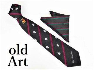 英国製イギリスフリーメイソンオフィシャル総柄刺繍ネクタイ&チーフハンカチSET新品未使用品【M-12194】
