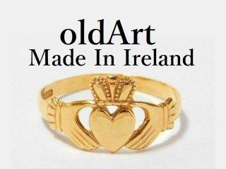 アイルランド製伝統的な指輪クラダリング9金無垢15号ホールマーク9ct9Kゴールド刻印【M-11567】