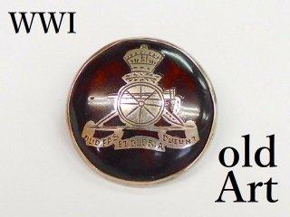 英国製アンティーク1916年代WW1当時物イギリス陸軍アールデコ銀製鼈甲ブローチ【M-12230】