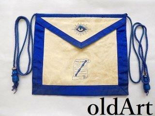 1940年代当時物USA製ヴィンテージフリーメイソンロッジオフィシャル正装儀式用具刺繍エプロン前掛け【M-12258】