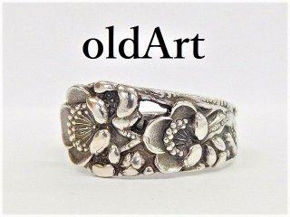 アンティークFlower花シルバー950銀製スプーンリング指輪15号【M-12272】