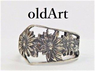 英国製アンティーク花Flower透かし彫刻シルバー銀製スプーンリング指輪15号【M-12274】