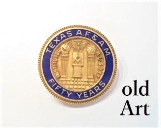 フリーメイソンテキサス州グランドロッジ会員50周年記念ヴィンテージ10KGFピンバッジピンズPINS【M-12322】