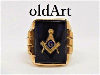 ビンテージ1950-60年代フリーメイソン本物10金無垢オニキスメンズリング指輪18号10Kゴールド【M-12303】