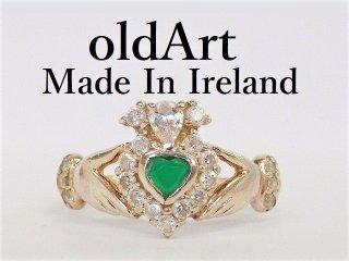 アイルランド製伝統的な指輪クラダリングヘマタイトSTERLINGシルバー製12号【M-12277】