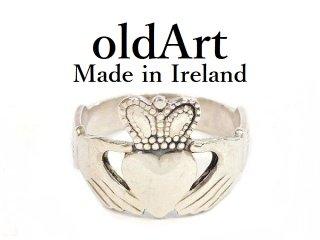 アイルランド製伝統的な指輪クラダリングスターリングシルバーメンズ17.5号ホールマーク刻印【M-12282】