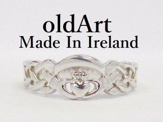 アイルランド製T.J.H伝統的な指輪クラダリングスターリングシルバー19号ホールマーク刻印【M-12285】