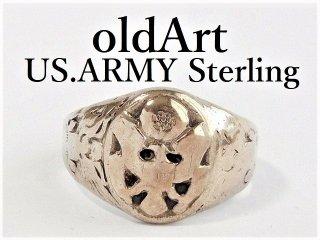 1940年代ビンテージWW2当時物US.ARMYシルバー製23号メンズミリタリーリング指輪【M-12371】