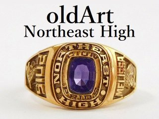 USA[NORTH EAST HIGH SCHOOL]ライオン地球紫石ゴールドカレッジリング指輪15号【M-12359】