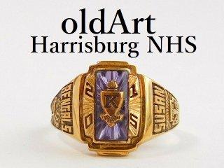 USA[HARRISBURG NHS]バラ紫石ゴールドヘリテイジカレッジリング指輪15号【M-12360】
