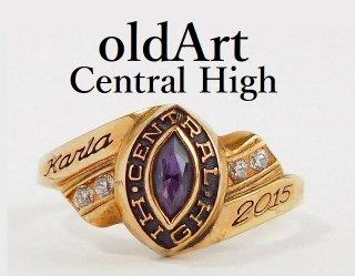USA[CENTRAL HIGH SCHOOL]紫石ゴールドカレッジリング指輪15号【M-12361】