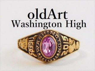 USA[WATHINGTON HIGH SCHOOL]チアリーダー虎ピンク石ゴールドレディースカレッジリング指輪15号【M-12367】