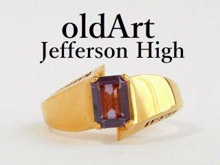 USA[JEFFERSON HIGH SCHOOL]紫石ゴールドレディースカレッジリング指輪11.5号【M-12369】