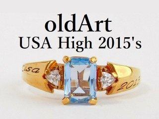 USA[HIGH SCHOOL]ライトブルー石ゴールドレディースカレッジリング指輪15.5号【M-12368】