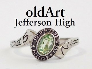 USA[JEFFERSON HIGH SCHOOL]ライトグリーン石シルバーレディースカレッジリング指輪15号【M-12370】