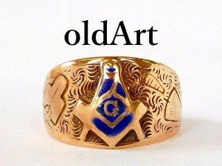 ビンテージ1940年代フリーメイソンOB社製10金無垢リング指輪11号10Kゴールド【M-12410】