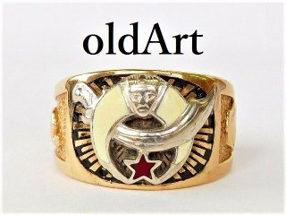 1950年代ビンテージフリーメイソンシュライナー10金無垢メンズリング指輪22.5号10Kゴールド【M-12412】