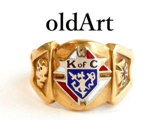 ビンテージKofCコロンブス騎士会スカル重厚10金無垢リング指輪23.5号10Kゴールド【M-12405】