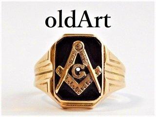 ヴィンテージ1940年代フリーメイソンOB社製オニキス10金無垢リング指輪20.5号10Kゴールド【M-12409】