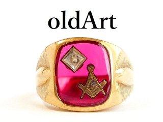 ヴィンテージ1950年代フリーメイソン10金無垢ルビーダイヤモンドメンズリング指輪20.5号10Kゴールド【M-12407】