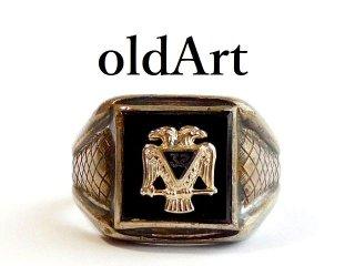 1950年代ビンテージフリーメイソン32階位双頭鷲STERLINGシルバー銀製メンズリング指輪26号【M-12425】