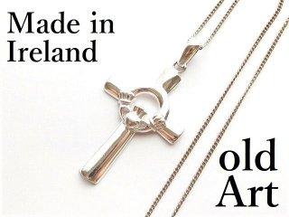 アイルランド製伝統的Claddaghクラダケルトクロス十字架スターリングシルバー製ペンダント/ネックレス【M-12449】