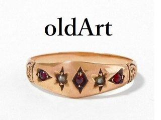 英国イギリス製エドワーディアンアンティーク9金無垢ガーネットパール装飾ジプシーリング指輪15.5号9ctゴールド【M-12440】