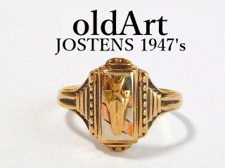 1947年代USAヴィンテージJOSTENSジャスティン社製10金無垢カレッジリング指輪18.5号【M-12466】