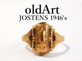 1946年代USAヴィンテージJOSTENSジャスティン社製10金無垢カレッジリング指輪15号【M-12467】