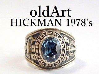 1978年代ヴィンテージUSA製HICKMAN Jr.HSスターリングシルバー製メンズカレッジリング指輪20.5号【M-12465】