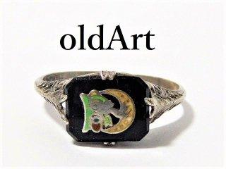 アンティーク1920年代オッドフェローズFLT三連鎖透かし細工オニキスシルバー製リング指輪21号【M-12470】