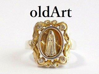 ビンテージ聖母マリアツートーンSTERLINGシルバー製リング指輪16.5号【M-12469】