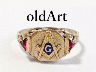 アンティーク1920年代フリーメイソン10金無垢ルビー透かし細工レディースリング指輪14号10Kホワイトゴールド【M-12475】