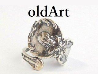 アンティークイエスキリスト繊細彫刻シルバー製スプーンリング指輪13号【M-12482】