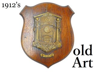 入手困難1912年代アンティークフリーメイソンロッジF&AM木製壁掛けエンブレムオブジェ【M-12510】