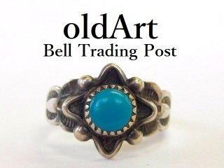 ヴィンテージ1950年代BELL TRADING POSTベルトレーディング社製ナバホインディアンターコイズシルバーリング指輪3号【M-12533】