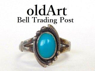 ヴィンテージ1950年代BELL TRADING POSTベルトレーディング社製ナバホインディアンターコイズシルバーリング指輪14号【M-12536】
