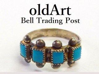 ヴィンテージ1950年代BELL TRADING POSTベルトレーディング社製ナバホインディアンターコイズシルバーリング指輪13.5号【M-12538】
