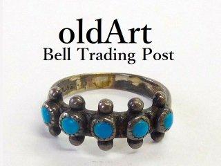 ヴィンテージ1950年代BELL TRADING POSTベルトレーディング社製ナバホインディアンターコイズシルバーリング指輪11号【M-12539】